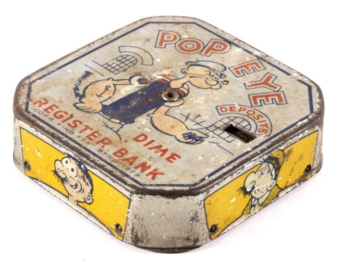 Antique Popeye Dime Register Bank - 2