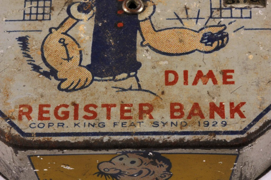 Antique Popeye Dime Register Bank - 4