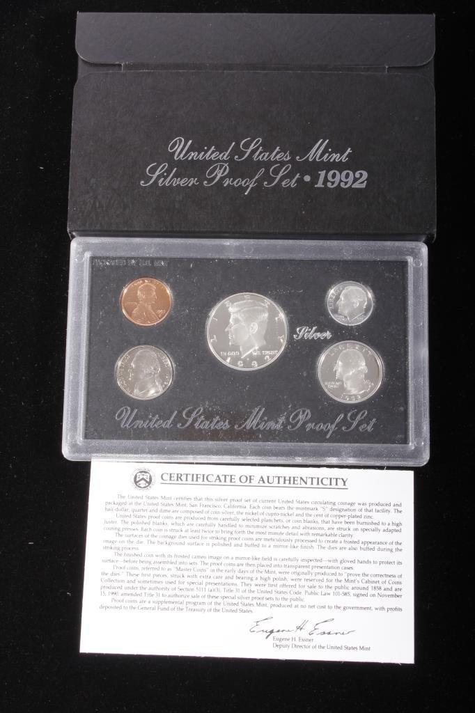 1992-S US Mint Silver Proof Set (5 Coins)