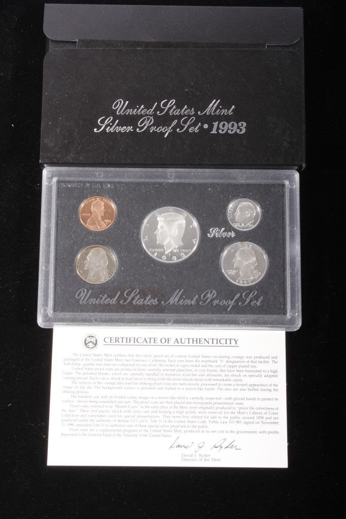 1993-S US Mint Silver Proof Set (5 Coins)