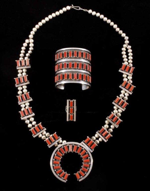 Navajo Coral Squash Blossom Necklace Set RARE