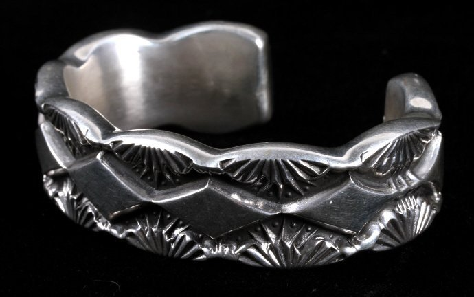 Navajo Marc Antia Heavy Sterling Silver Bracelet - 2