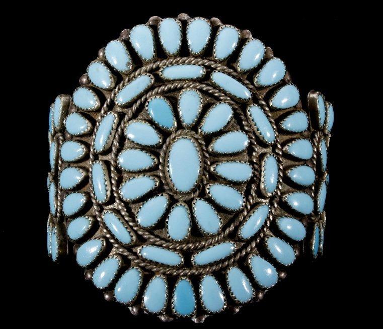 Navajo Petit Point Turquoise Silver Bracelet Large