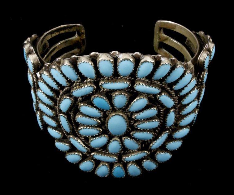 Navajo Petit Point Turquoise Silver Bracelet Large - 2