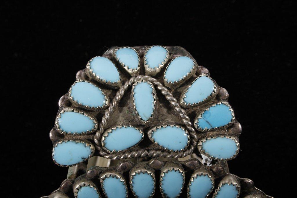Navajo Petit Point Turquoise Silver Bracelet Large - 5
