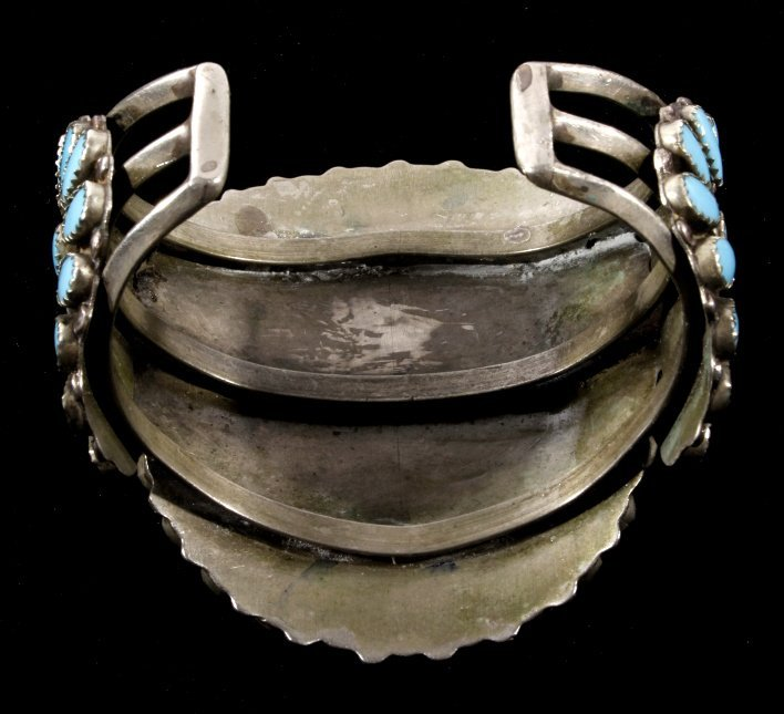 Navajo Petit Point Turquoise Silver Bracelet Large - 6