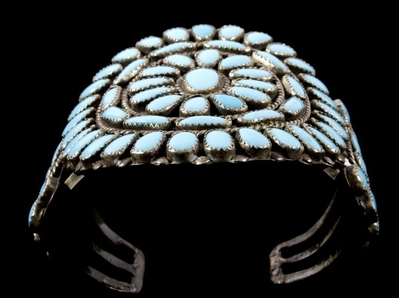Navajo Petit Point Turquoise Silver Bracelet Large - 7
