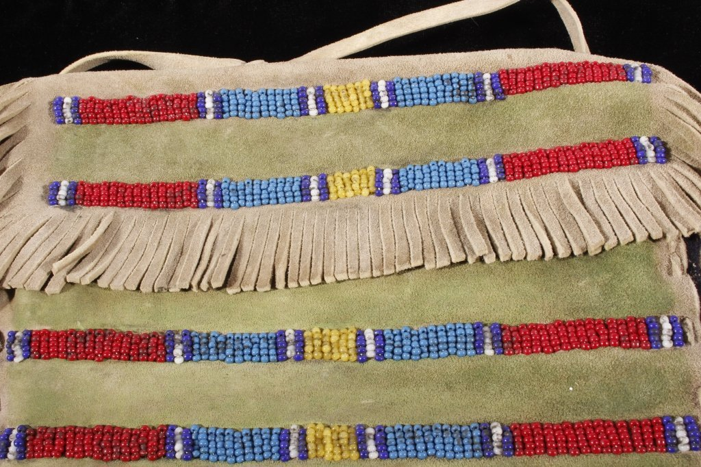 Sioux Beaded Possibles Tepee Bag 19th C. Beads - 2