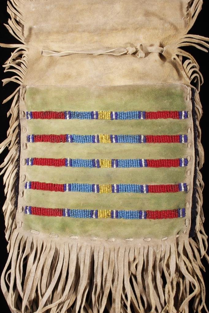 Sioux Beaded Possibles Tepee Bag 19th C. Beads - 8