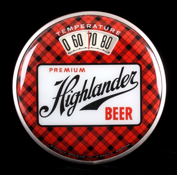 Highlander Beer Advertising Thermometer Montana