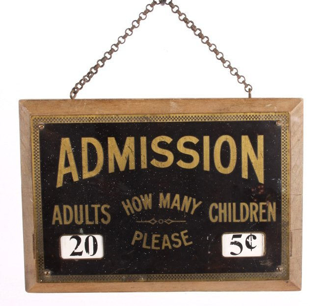 Theatre Admission Sign from Butte Montana