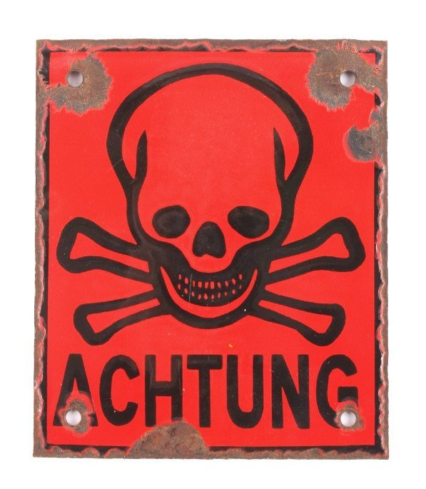 WWII German Achtung Porcelain Skull & Bones Sign