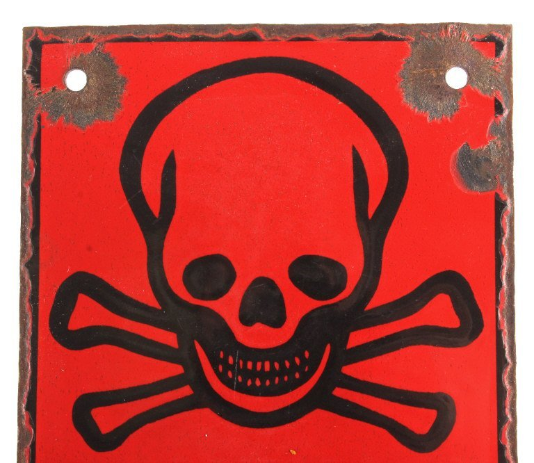 WWII German Achtung Porcelain Skull & Bones Sign - 2