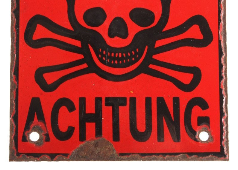 WWII German Achtung Porcelain Skull & Bones Sign - 5