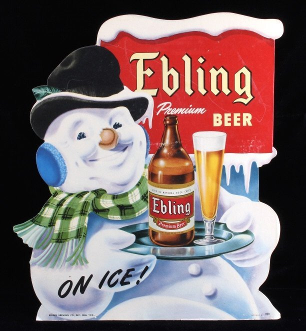 Ebling Frosty Snowman Die Cut Advertising Sign