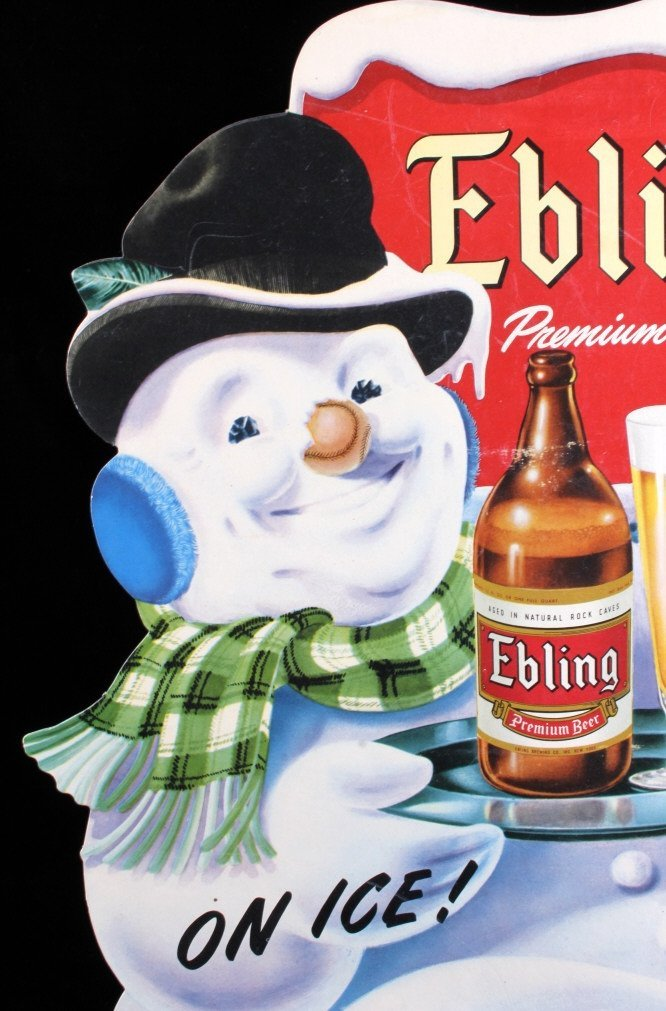 Ebling Frosty Snowman Die Cut Advertising Sign - 3