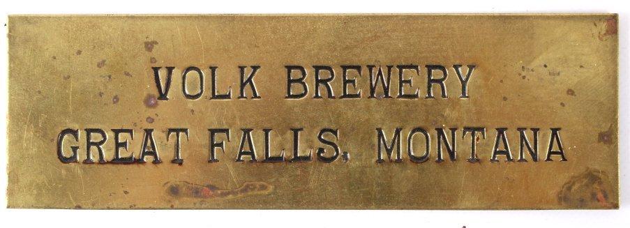 Volk Brewery Brass Sign Great Falls, MT C.1930's