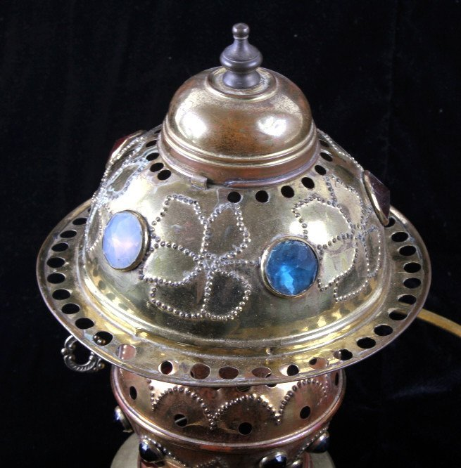 Antique Brass Jeweled Electric Lamp - 2