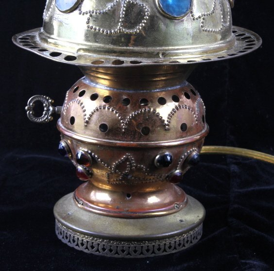 Antique Brass Jeweled Electric Lamp - 3