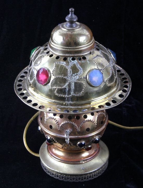 Antique Brass Jeweled Electric Lamp - 4
