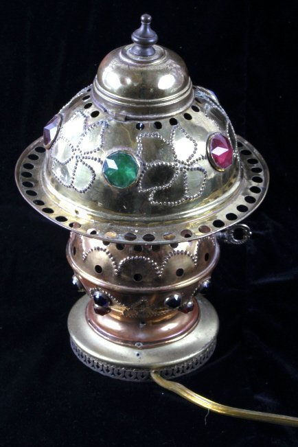Antique Brass Jeweled Electric Lamp - 5