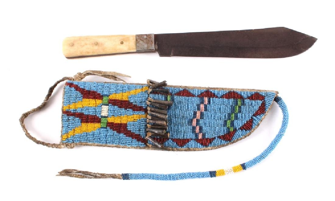 Sioux Beaded Sheath & J. Russell Bowie Knife 1840-