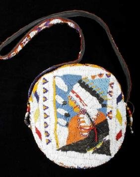 Plains Fully Beaded Bag Chief's Bust Early 1900