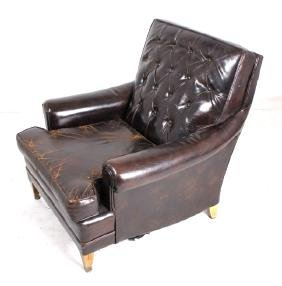 French Chesterfield Tufted Club Chair Circa 1920s