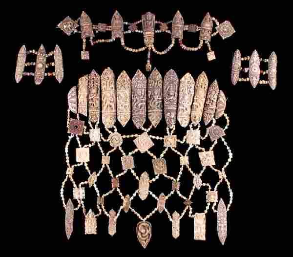 Tibetan Ritual Bone Apron Crown Cuffs 18th/19th C.