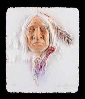 Pressed Paper Relief of Native American Elder