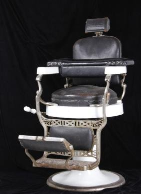 Koken Barber Chair Round Seat c. 1930 RARE