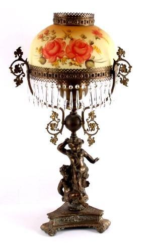 Antique Bronze Cherub Kerosene Table Lamp