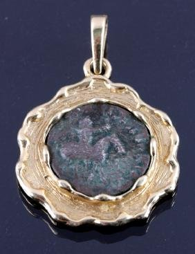 Gold Encased Ancient Coin Pendant