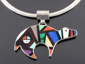 Zuni Sterling Silver Bear Mosaic Necklace