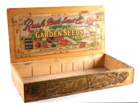 Antique Wooden Rush Park Seed Co. Box