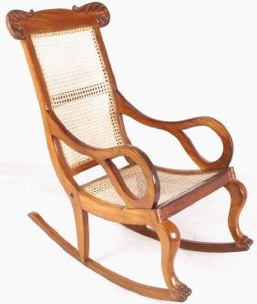 Custom Oak And Wicker Carved Rocking Chair