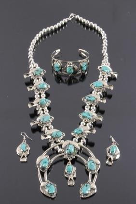 Turquoise Squash Blossom Bracelet & Earrings