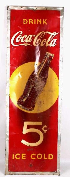 Rare 1920s 5 Cent Coca Cola Tin Sign