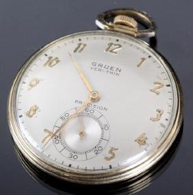 10K Gold Gruen VERI-THIN 17 Jewel Pocket Watch