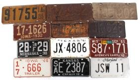 Early Mid West & Eastern US License Plates 1915-72