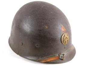 WWII M1 Helmet & Liner With Brass Plate