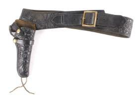 Western Tooled Leather Hunter Holster & Belt