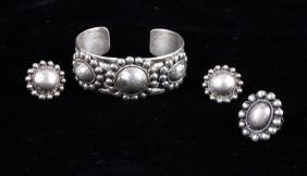 Navajo Handmade Concho Bracelet Ring & Clip On's
