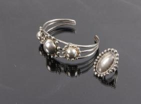 Navajo Handmade Metal Concho Bracelet & Ring