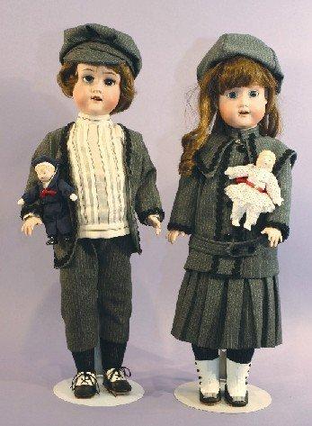 Antique Twin Bisque Dolls, Morimura Brothers
