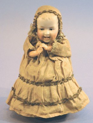 Antique German Bisque Doll, Heubach 7604 Baby