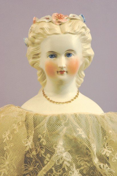Antique Parian Doll With Floral Headband and Beads
