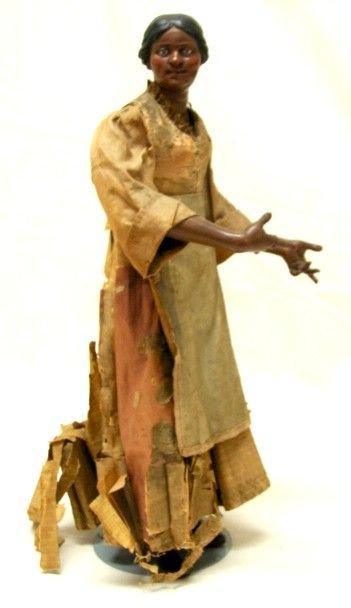 Antique Italian Black Creche Lady Figure