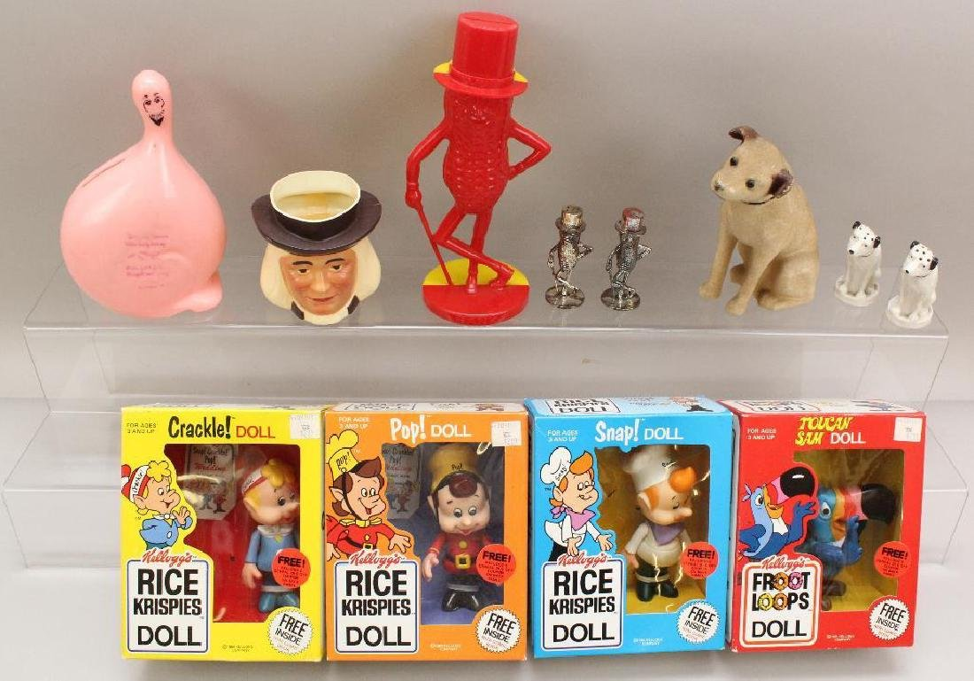LOT OF ADVERTISING ITEMS: QUAKER; 1984 KELLOGG'S DOLLS;