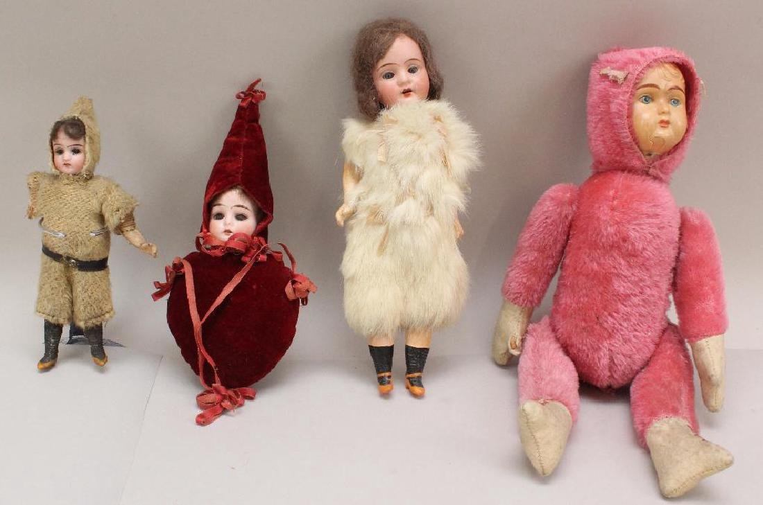 LOT OF (4) ANTIQUE NOVELTY DOLLS WITH BISQUE &